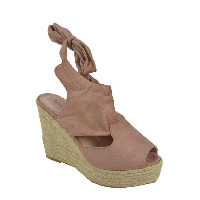 5fa8141bd13fc Sandales Compensées Suédine Rose Rose - Achat   Vente sandale - nu ...