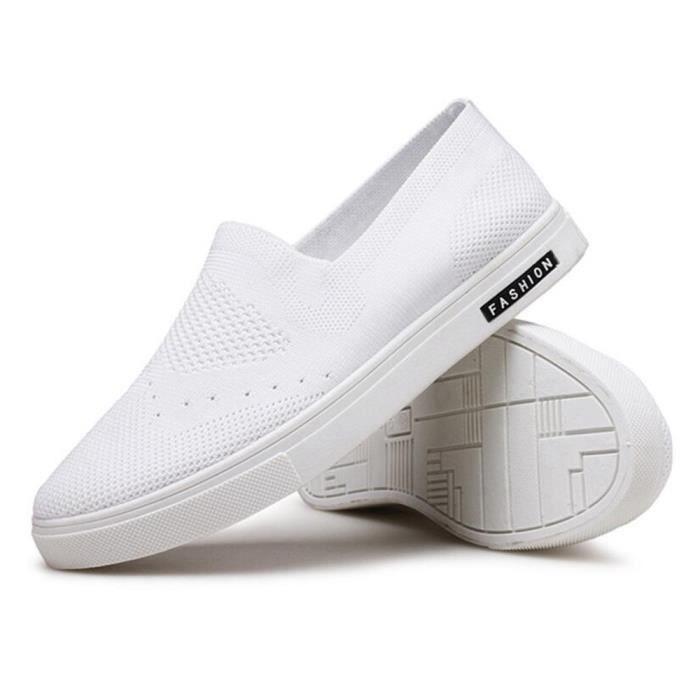 Espadrille Hommes Ultra Comfortable Mode Chaussures Détente DTG-XZ038Blanc44