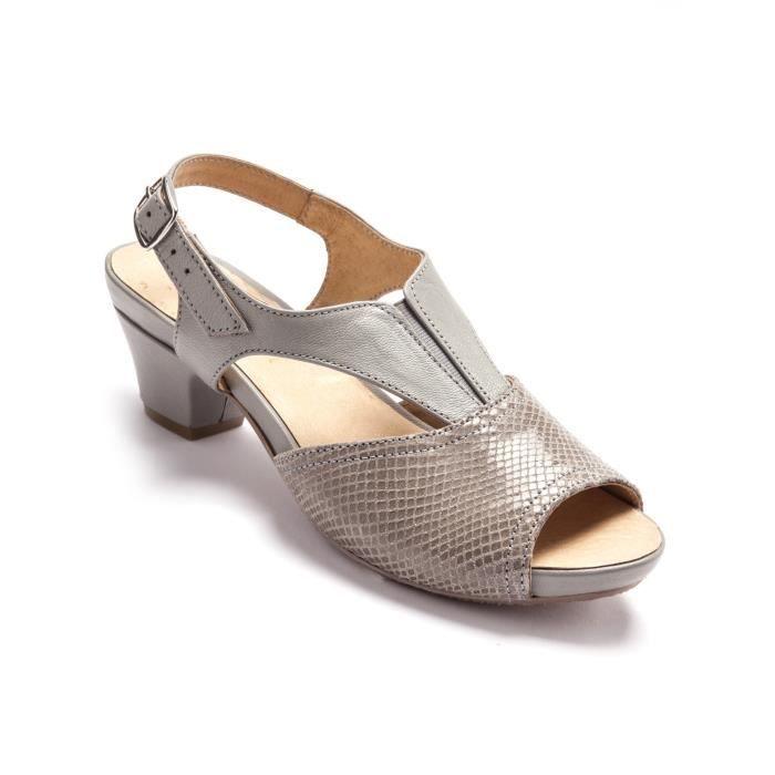 Sandales cuir lisse et façon croco, aérosemelle®