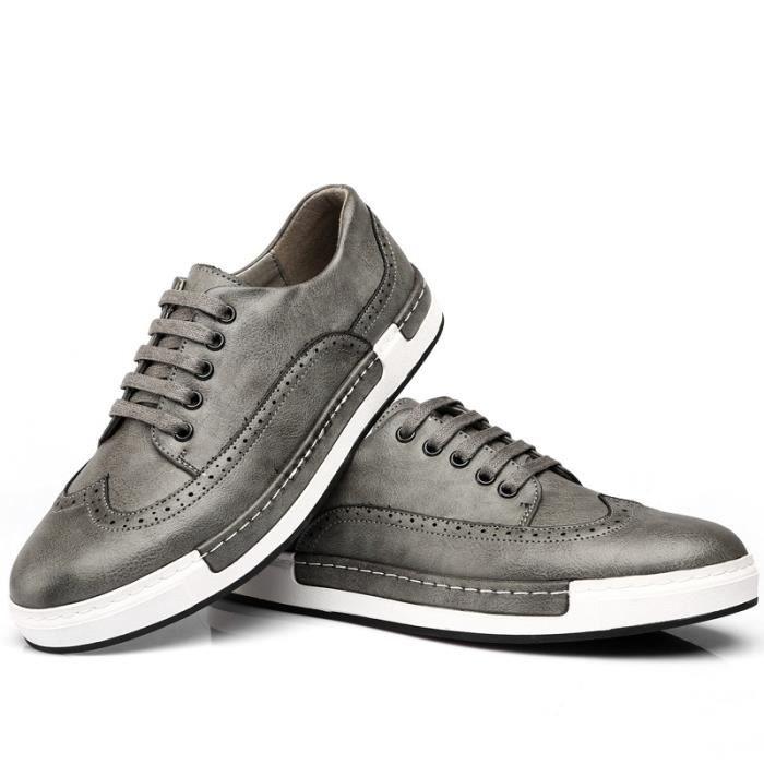 JOZSI Chaussures Hommes Cuir été hiver Respirant Homme chaussure de ville FXG-XZ205Gris40 6L7e0Vnfa