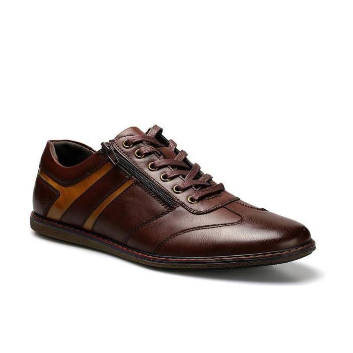 10c90fe3e211 Chaussures de ville sport casual à lacets homme en cuir marron talon plat  confortable et classique taille 39-44