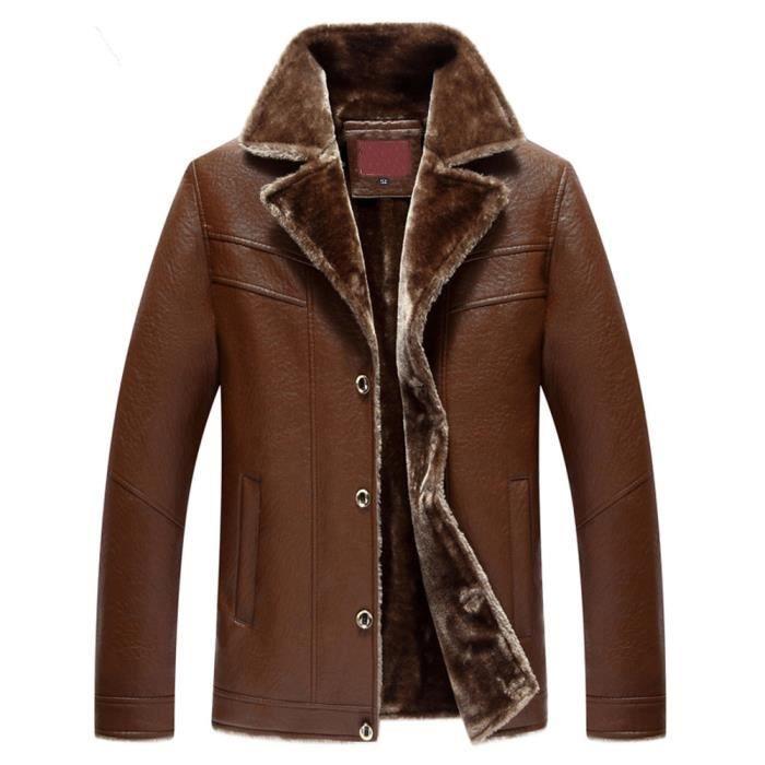 Manteau Cuir En Marron Homme Color Bouton Hiver Veste Pure Lapel Imitation Mode Hauts vHw8BqxgB
