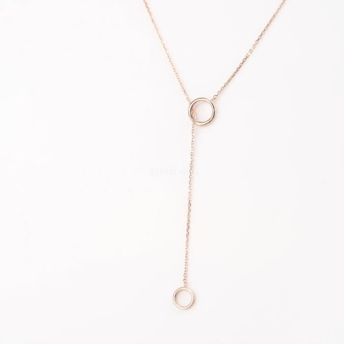Craze Rose Gold Filled Double Cercle Collier Lariat
