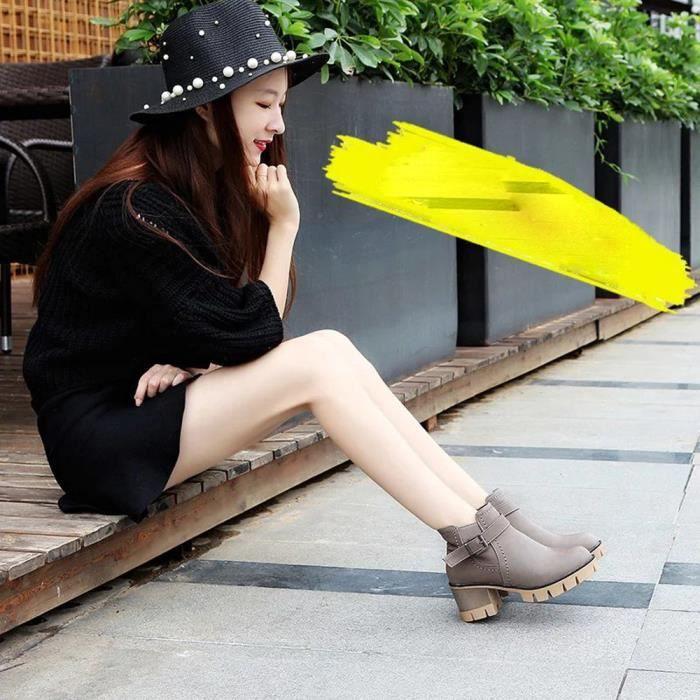 Bottes Vintage Talon Haut gris Libaib Plateforme Chaussures Martin Unique Bottes Femmes q6AOwA