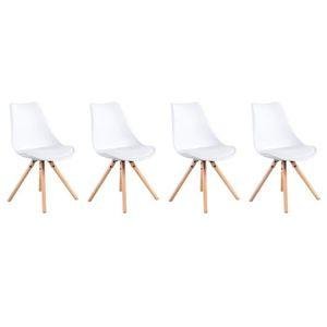 CHAISE Lot de 4 chaises scandinaves ANITA blanches avec c