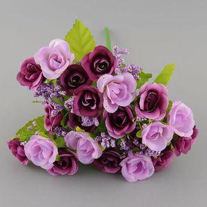 FLEUR ARTIFICIELLE 21pcs têtes bouquet fleurs artificielle de rose Vi