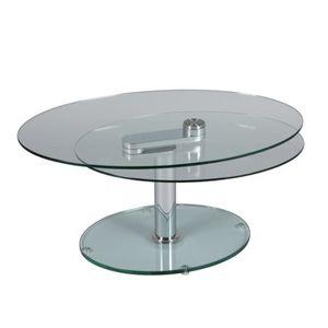 TABLE BASSE Table basse articulée Acier/Verre - GLASS n°1 - L