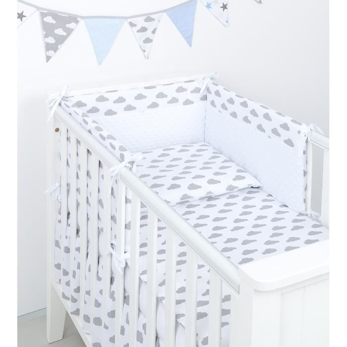 parure de lit bebe gris achat vente parure de lit bebe. Black Bedroom Furniture Sets. Home Design Ideas