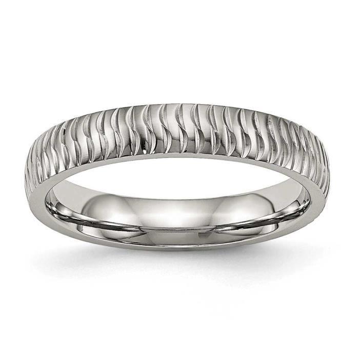 4 mm Créoles dAcier Inox poli et texturé-Taille F 1/2–JewelryWeb