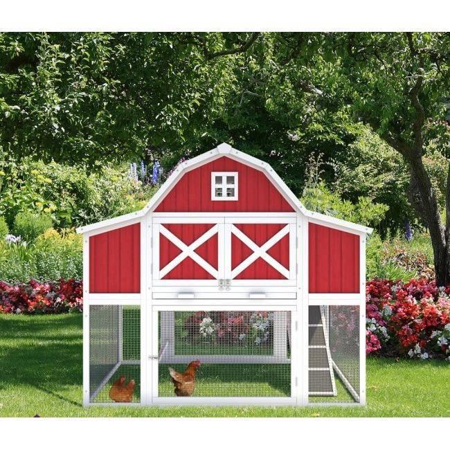 clapier cage lapin parc enclos poulailler cage pour lapin et rongeur 166 x 152 4 x 130 4 cm. Black Bedroom Furniture Sets. Home Design Ideas