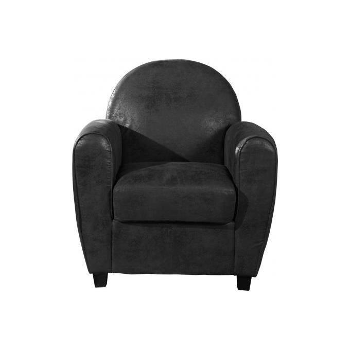 Fauteuil Club Effet Cuir Gris MORGANE Achat Vente fauteuil Gris