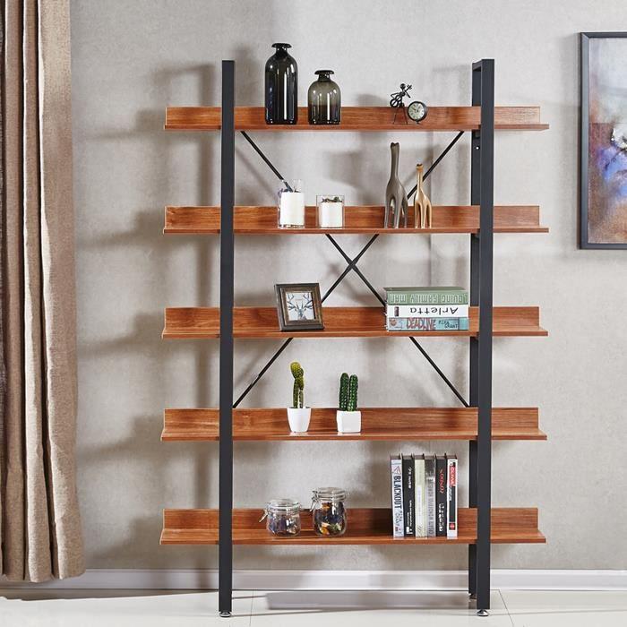 tag res style industriel en bois fonc 170cm ekero achat vente meuble tag re tag res. Black Bedroom Furniture Sets. Home Design Ideas
