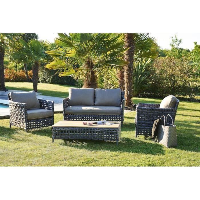 RIADE Canapé + 2 fauteuils + table basse 110x60x32cm - Gris ...