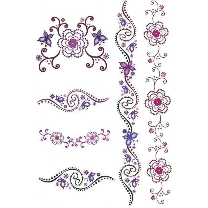 Tatouages Couleur Art Coeur Et Fleurs Resistant Achat Vente