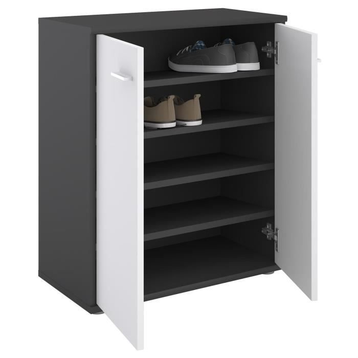 meuble chaussure blanc et gris achat vente pas cher. Black Bedroom Furniture Sets. Home Design Ideas