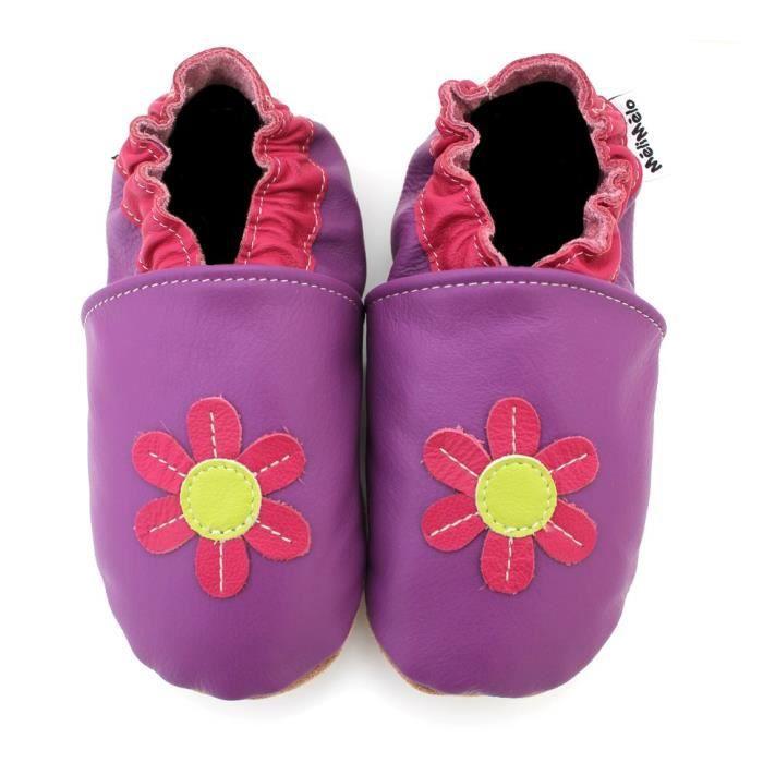 Meli Melo bio - Chaussons Cuir Souple Flower - Violet Violet - Achat ... 3162d88a7600