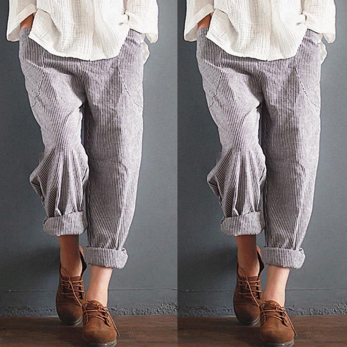 66e43ca20397 Spentoper Femmes haute taille Vintage rayé pantalon de coton en vrac  pantalon de harem YSZ80612492BK Noir