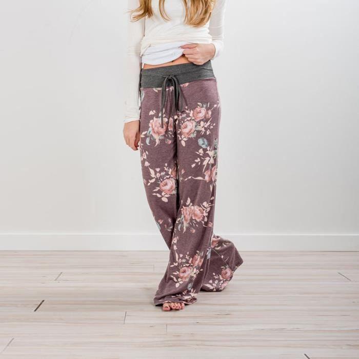 Pantalon De Sport Femme Pyjama Ample Elastique Jogging Fluide Léger Yoga  Pants Grande Taille Floral Imprimé Jambe Large Décontracté 528e62ae14f