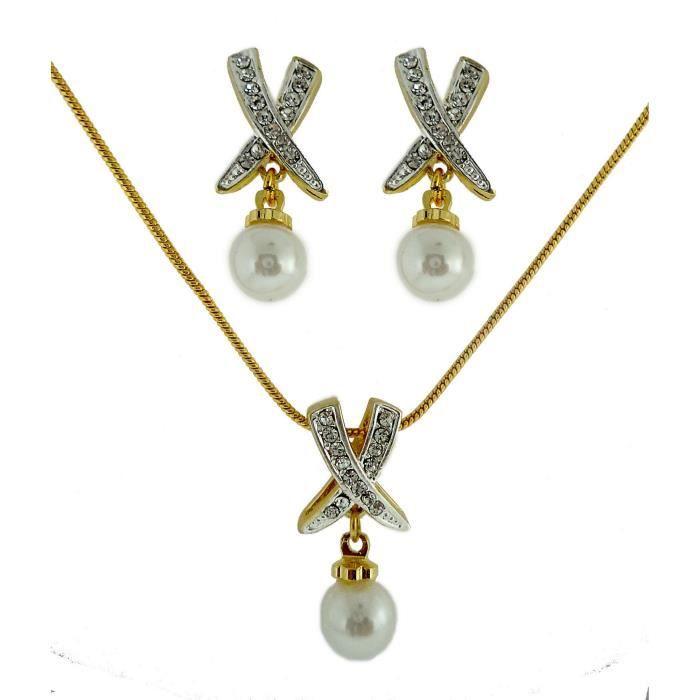 Pendentif femme Set américain diamant 24k plaqué or Bollyod élégant Pearldesigner Pendant Set PourYT0WJ