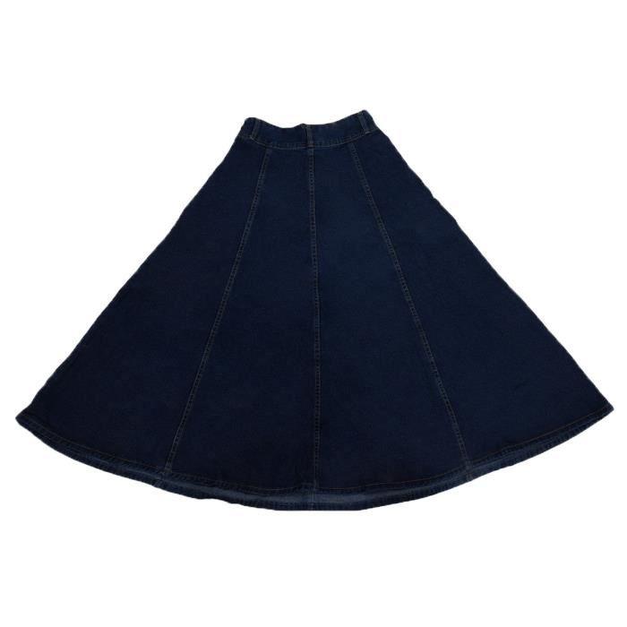 Robe a A-ligne en jeans decontracte long nouvelle pour les femmes Bleu Fonce S