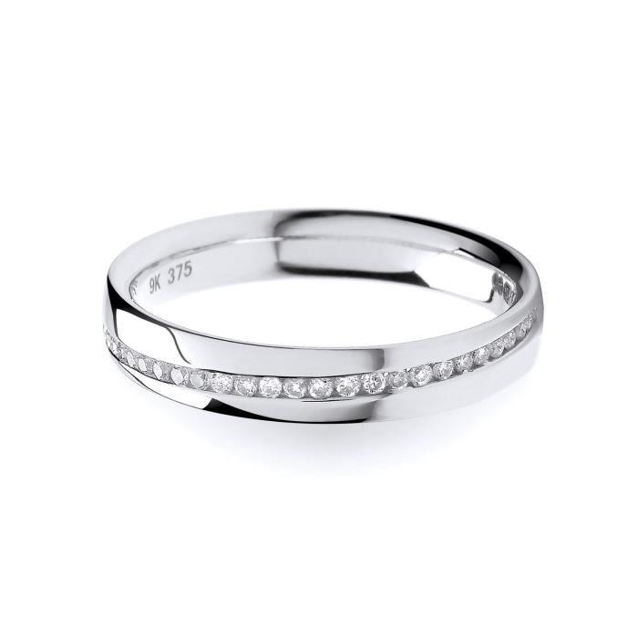 Bague Femme Semi Pavée Or Blanc 375-1000 et Diamant Brillant 0.13 Carat HI - I1 30573