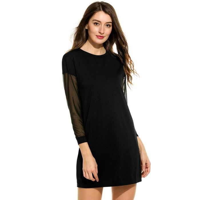 Robe Femmes Robe Casual O-cou Long maille Patchwork manches Raglan en vrac