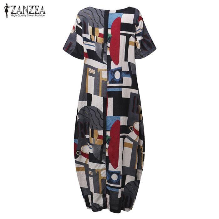 ZANZEA Femme Maxi Robe Florale