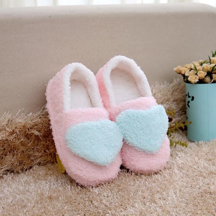 D'hiver et d'amour d'hiver à la maison chaussures en coton chaud chaussures d'intérieur non - glissement doux - chaussures