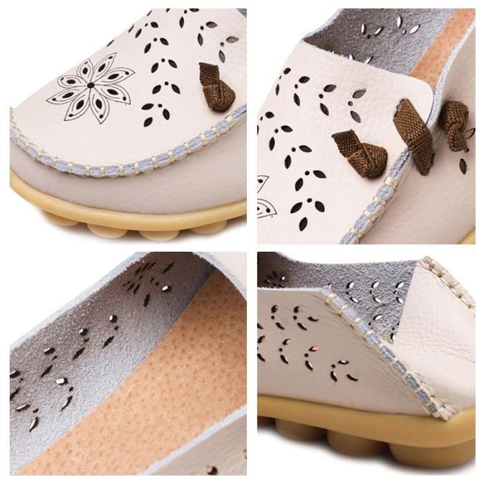 Mocassin Femmes Printemps Ete Mode Classique Plat Chaussure BXFP-XZ086Blanc34