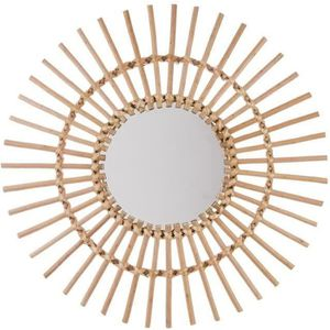 MIROIR Miroir rotin soleil - Couleur: Miroir rotin bois