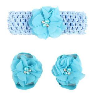 1pair enfant Perle en mousseline de soie pieds nus tout-petits pieds fleur sandales de plage YXP7040849WH BaIYz9sec