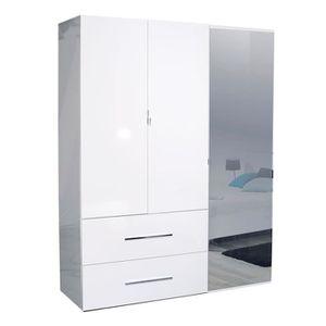 ARMOIRE DE CHAMBRE Armoire 3 portes 2 tiroirs Laqué Blanc - UNO - L 1