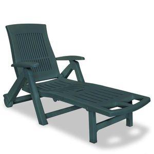 Bain de soleil plastique vert achat vente pas cher for Chaise longue toile avec repose pied