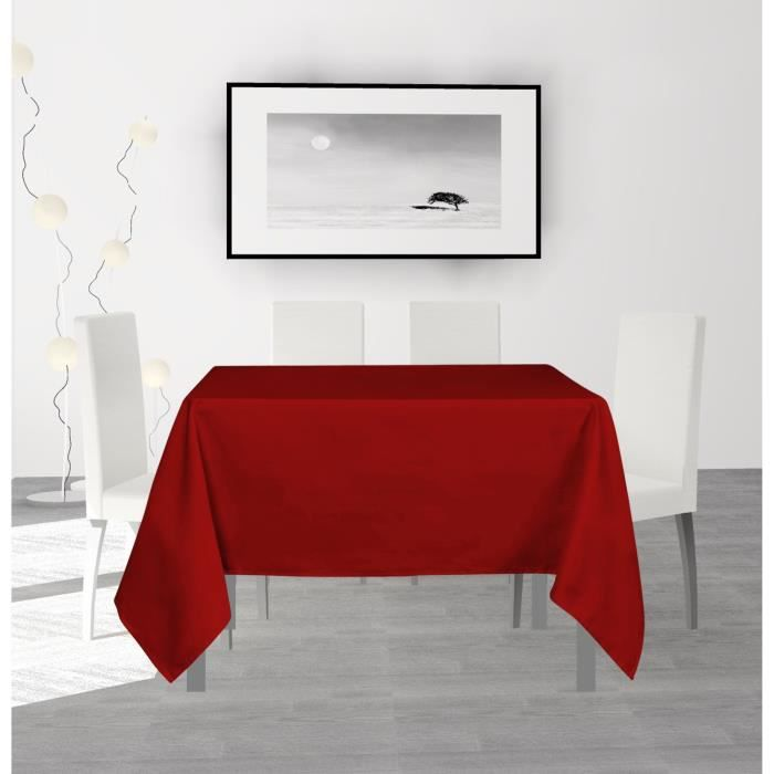 SOLEIL D'OCRE Nappe anti-tâches carrée Alix - 140 x 140 cm - Rouge