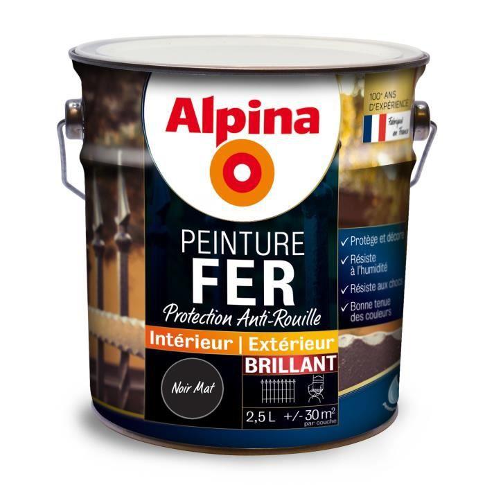 Peinture Fer Alpina 25l Couleurnoir Mat Achat Vente Peinture