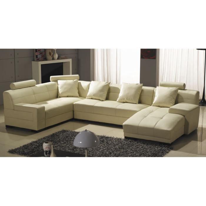 canapé d'angle panoramique en cuir beige bali - achat / vente