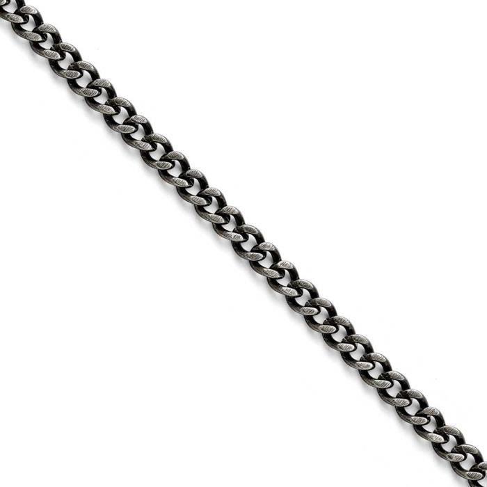 Acier inoxydable 7,5 mm oxydé Bracelet Chaîne 8 -