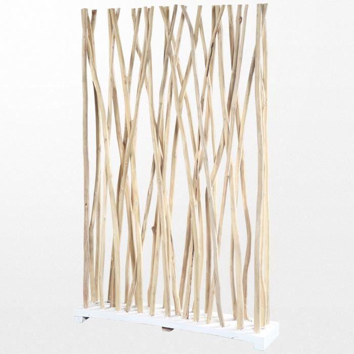 Paravent - En bois flotté - Blanc - 120 x 180 x 25 cm