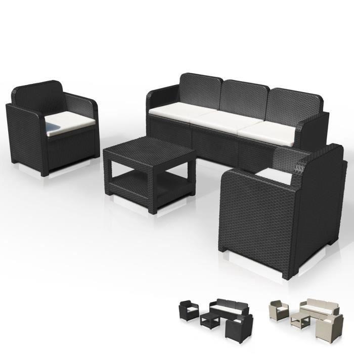 ... rotin Canapé table basse fauteuils 5 places pour extér - Couleur No.  SALON DE JARDIN Salon de jardin Grand Soleil POSITANO en Poly roti 23aed007838c