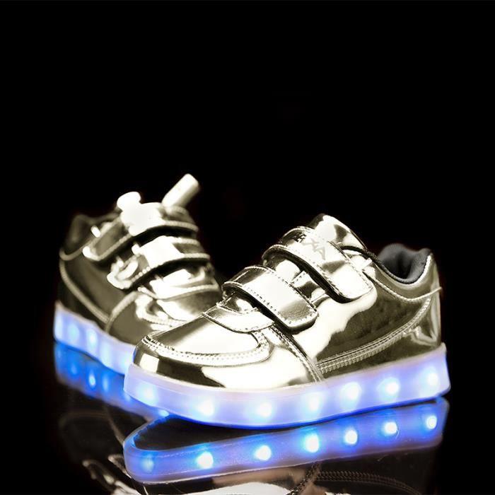 Mode enfants 7 Couleu Chaussures LED Lumineux C...