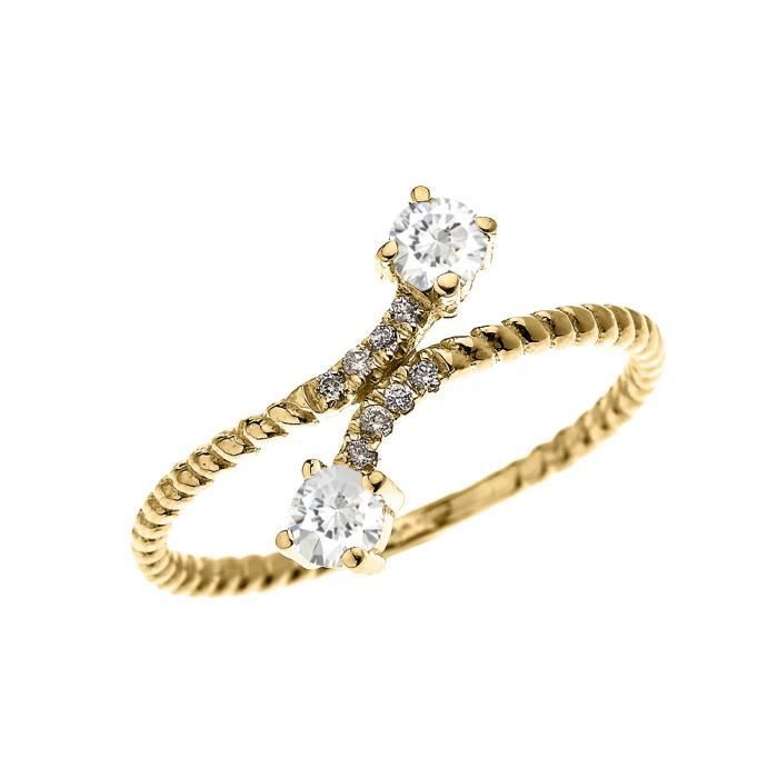 Bague Femme 14 Ct Or Jaune 2 Pierre Blanc Topaze Et Diamant Conception De Corde