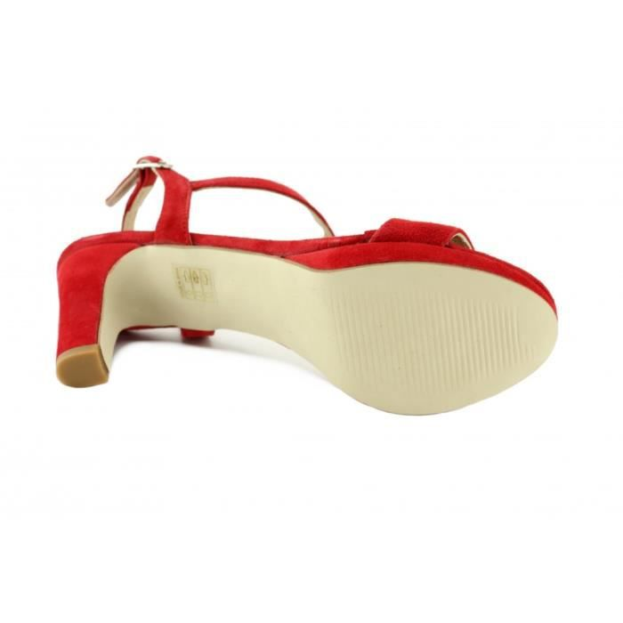 Jiline – Sandale à plateforme et talon chaussures tendances pour femme marque Angelina Daim rouge