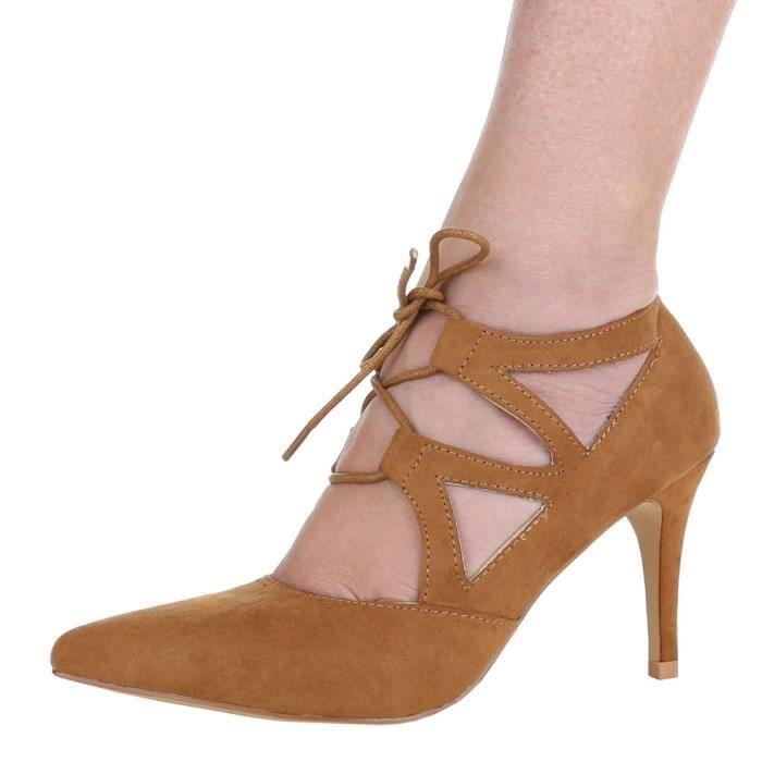 Femme chaussures escarpin Talons Hauts lacer Camel 41 KyeqaR3GP