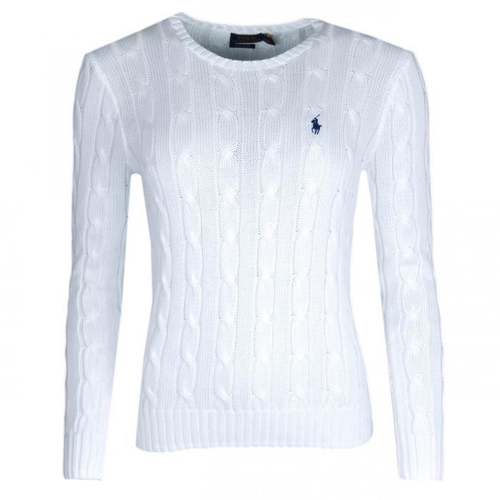 Pull col rond Ralph Lauren blanc torsadé pour femme - Taille  S - Couleur   Blanc 1008ca97aacf