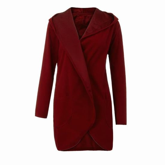 Outwear Capuchon Hauts Manteau du Manches Cardigans Longues Open Avant Femmes Casual Vin Ladies À Ww8qZB8P