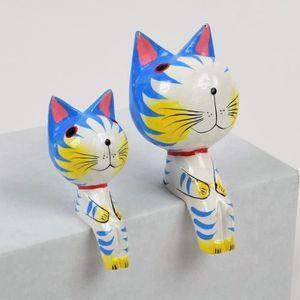 OBJET DÉCORATIF CAT Objet déco à poser 2 chats en bois sculpté
