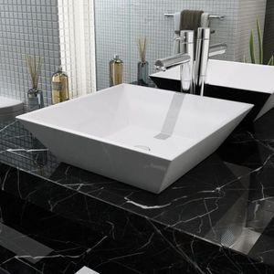 LAVABO - VASQUE vidaXL Lavabo carrée Céramique Blanc 41,5 x 41,5 x