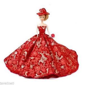 ACCESSOIRE POUPÉE Robe de Soirée Barbie Vêtement Rouge Poupee Manneq