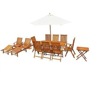 13 pcs Salon Jardin en Bois d\'acacia Massif 1 Tables 8 Chaise ...