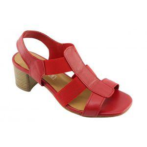 rouge marques chaussures Angelina talon cuir � ciré élastiquée Femme stable Janita sandale gqP14c6